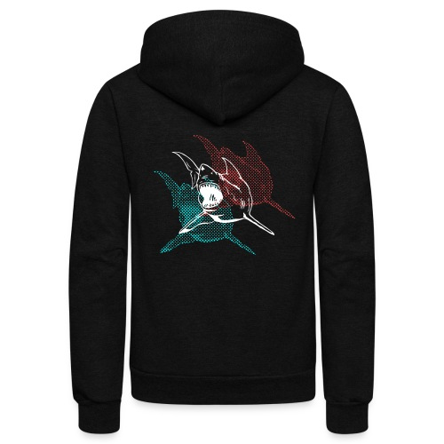 3D Glasses Shark Designer Graphic - Unisex Fleece Zip Hoodie