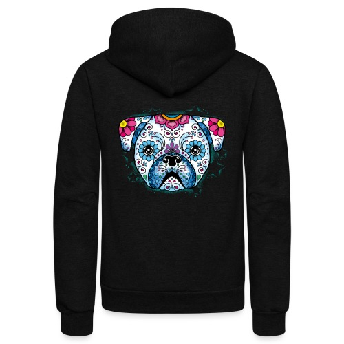 Puppy Sugar Skull - Unisex Fleece Zip Hoodie