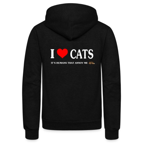 I love Cats - It's humans that annoy me - Unisex Fleece Zip Hoodie