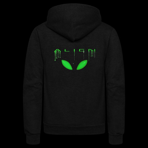 Alien Dribble with ET eyes - Green - Unisex Fleece Zip Hoodie