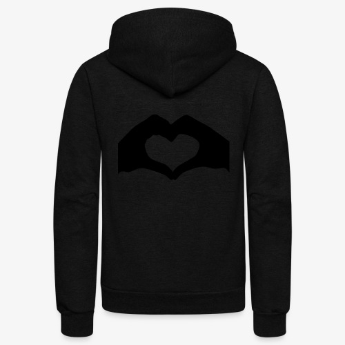 Silhouette Heart Hands | Mousepad - Unisex Fleece Zip Hoodie