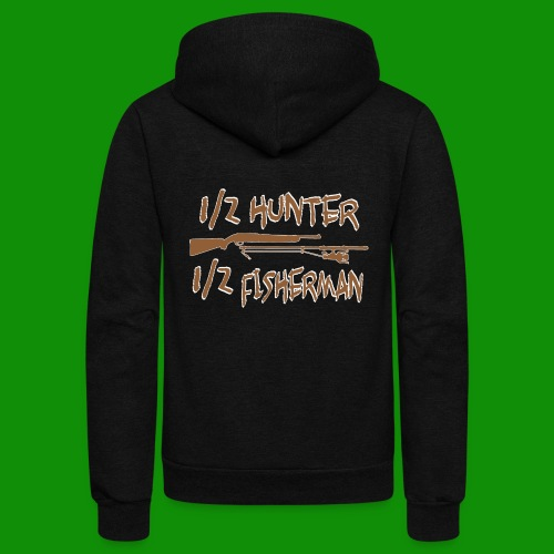 1/2 Hunter 1/2 Fisherman - Unisex Fleece Zip Hoodie