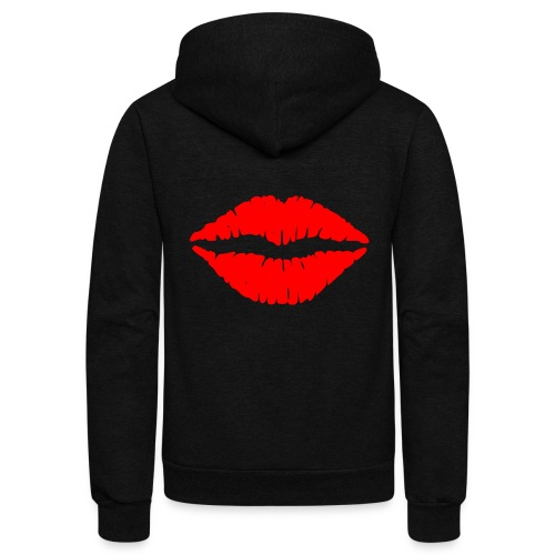 Red Lips Kisses - Unisex Fleece Zip Hoodie