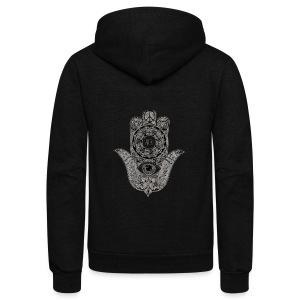 Ezina Hamsa Design - Unisex Fleece Zip Hoodie by American Apparel