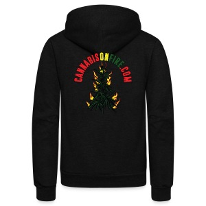Cannabis On Fire T-Shirt 420 Cannabis Wear 2017 - Unisex Fleece Zip Hoodie by American Apparel