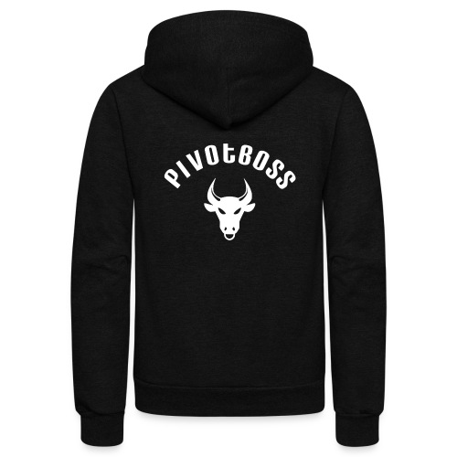 PivotBoss Curved Logo - White - Unisex Fleece Zip Hoodie