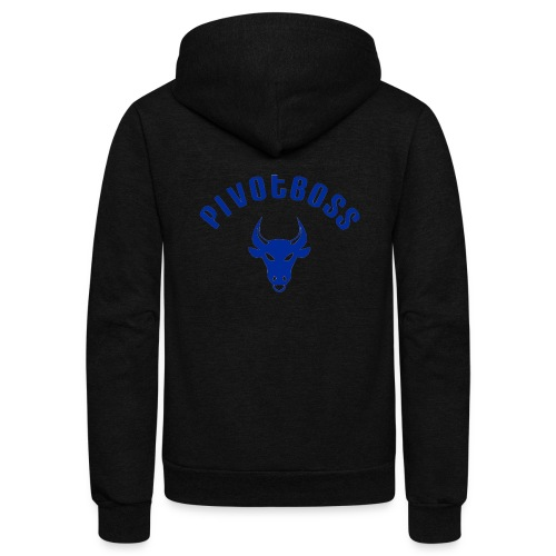 PivotBoss Curved Logo - Cobalt - Unisex Fleece Zip Hoodie