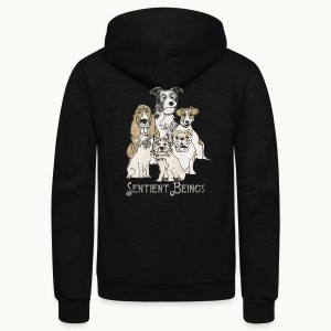 DOGS-SENTIENT BEINGS-white text-Carolyn Sandstrom - Unisex Fleece Zip Hoodie