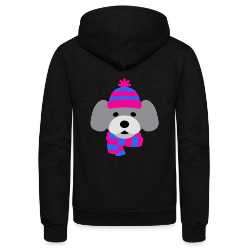 Cute Grey dog in pink and blue hat and scarf - Unisex Fleece Zip Hoodie