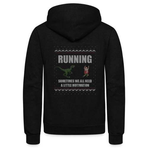 Ugly Christmas Sweater Running Dino and Santa - Unisex Fleece Zip Hoodie