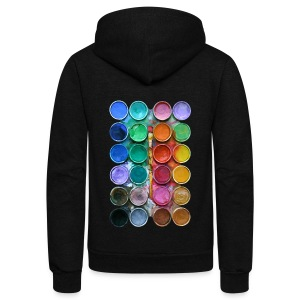 watercolor rainbow abstraction pallete T-shirt - Unisex Fleece Zip Hoodie by American Apparel