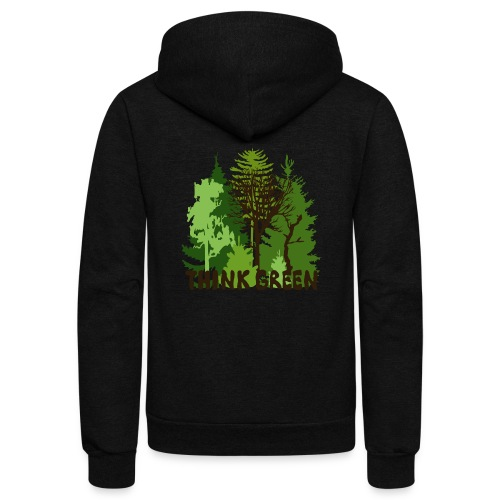 EARTHDAYCONTEST Earth Day Think Green forest trees - Unisex Fleece Zip Hoodie