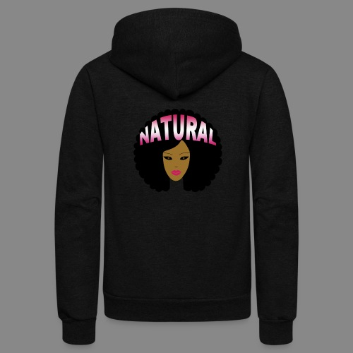 Natural Afro (Pink) - Unisex Fleece Zip Hoodie