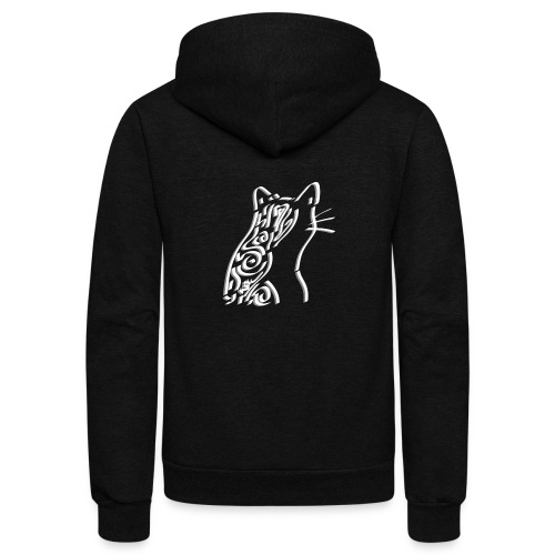 Pensive Cat - Unisex Fleece Zip Hoodie