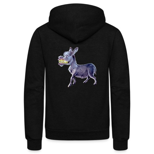 Funny Keep Smiling Donkey - Unisex Fleece Zip Hoodie