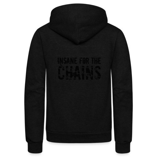 Insane For the Chains Disc Golf Black Print - Unisex Fleece Zip Hoodie