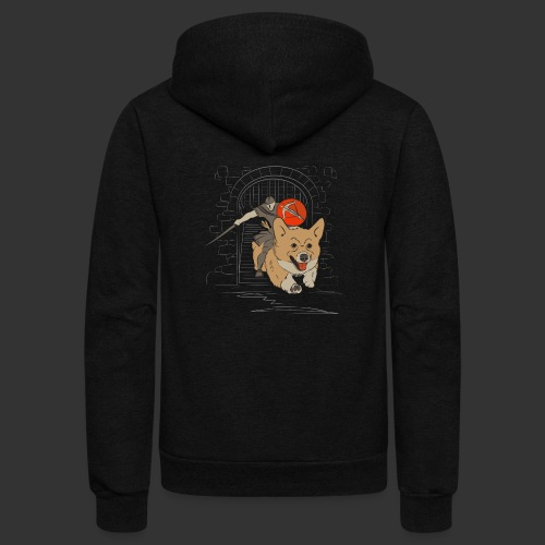 A Corgi Knight charges into battle - Unisex Fleece Zip Hoodie