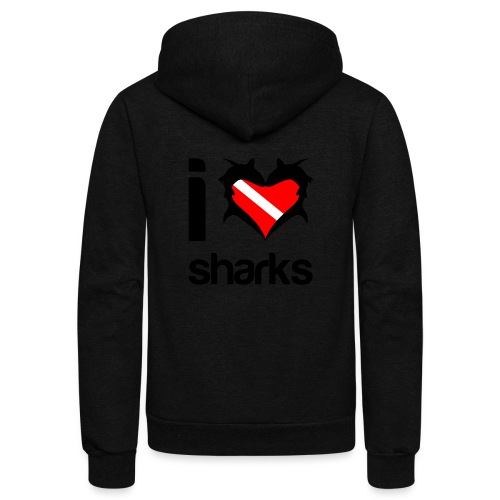 I Love Sharks - Unisex Fleece Zip Hoodie