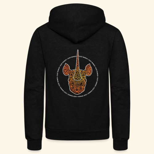 Dust Rhinos Orange Knotwork - Unisex Fleece Zip Hoodie