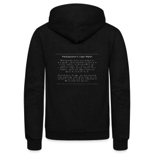 Photographers Legal Rights - Unisex Fleece Zip Hoodie by American Apparel