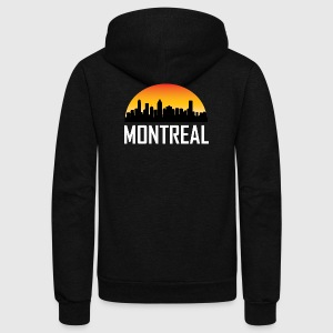 Sunset Skyline Silhouette of Montreal QC - Unisex Fleece Zip Hoodie by American Apparel