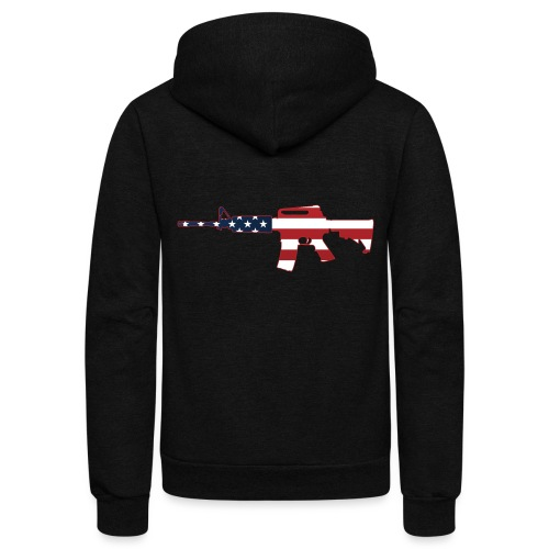 AR-15 Stars & Stripes Rifle Silhouette - Unisex Fleece Zip Hoodie