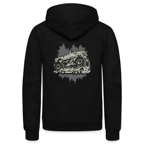Monster Truck Grunge - Unisex Fleece Zip Hoodie