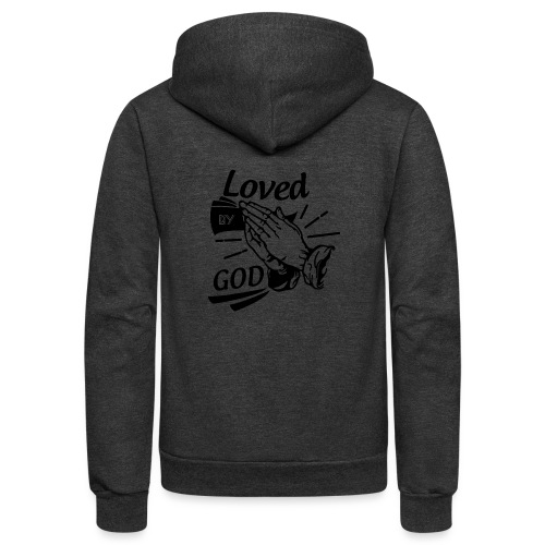 Loved By God (Black Letters) - Unisex Fleece Zip Hoodie
