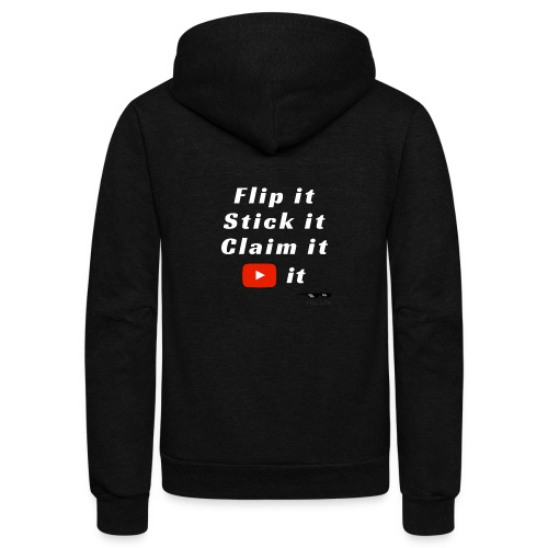 Flip It White Design T-Shirt - Back Flip Inverted - Unisex Fleece Zip Hoodie