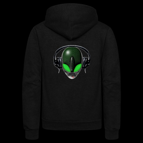 Reptoid Green Alien Face DJ Music Lover - Friendly - Unisex Fleece Zip Hoodie