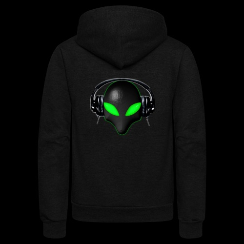 Alien Bug Face Green Eyes in DJ Headphones - Unisex Fleece Zip Hoodie