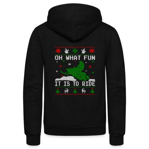 Oh What Fun Snowmobile Ugly Sweater style - Unisex Fleece Zip Hoodie