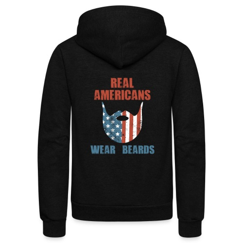 Real Americans Wear Beards Patriotic Flag Graphic - Unisex Fleece Zip Hoodie