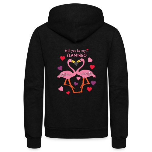 Will You be my Flamingo Valentine Kisses - Unisex Fleece Zip Hoodie
