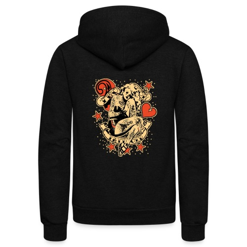 Screwed & tattooed Pin Up Zombie - Unisex Fleece Zip Hoodie