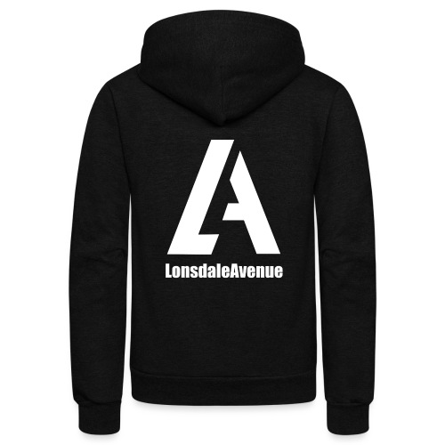 Lonsdale Avenue Logo White Text - Unisex Fleece Zip Hoodie
