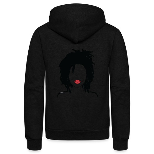 Locs & Lipstick_Global Couture Women's T-Shirts - Unisex Fleece Zip Hoodie