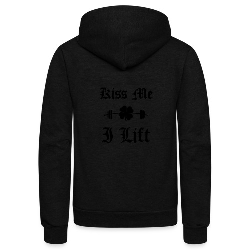 Kiss Me I Lift (old english, black) - Unisex Fleece Zip Hoodie