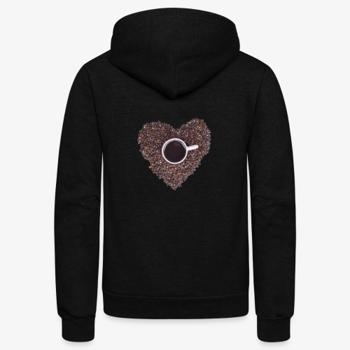 I Heart Coffee Black/White Mug - Unisex Fleece Zip Hoodie