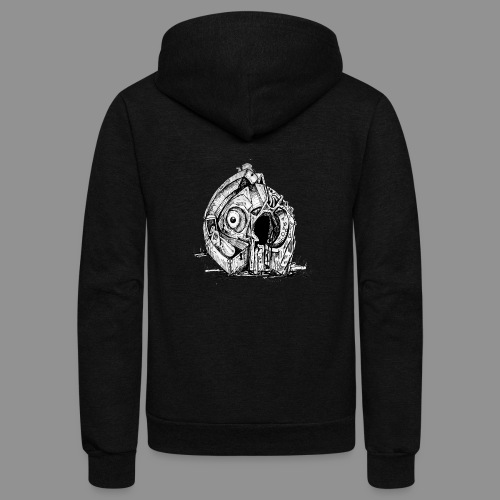 Wolfman Originals Black & White 14 - Unisex Fleece Zip Hoodie