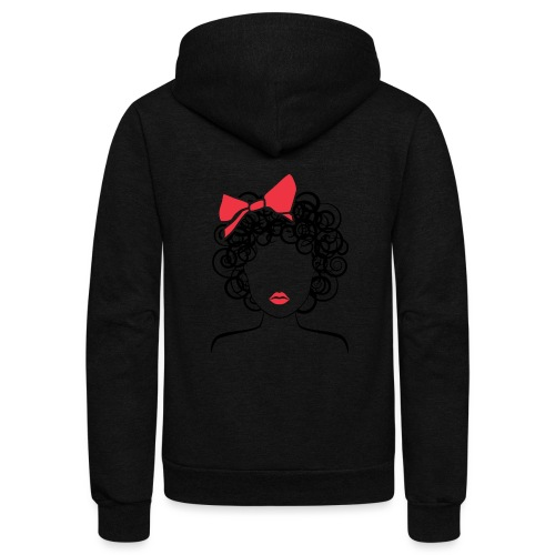 Coily Girl with Red Bow_Global Couture_logo Long S - Unisex Fleece Zip Hoodie