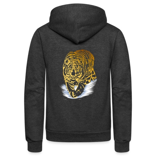 Golden Snow Tiger - Unisex Fleece Zip Hoodie