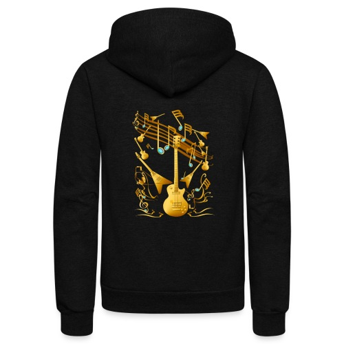 Gold Guitar Party - Unisex Fleece Zip Hoodie