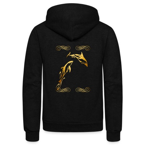 Two Gold Dolphins with frilly frames - Unisex Fleece Zip Hoodie