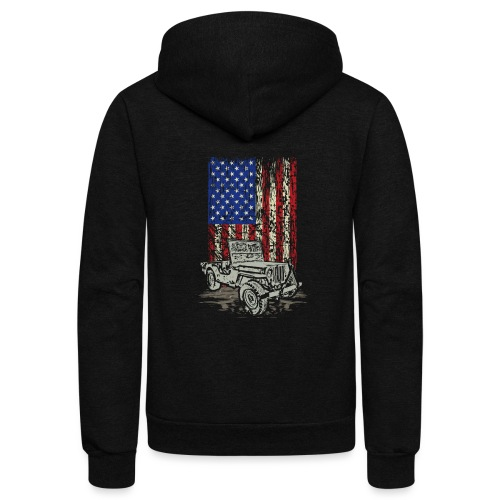 Jeep American Flag - Unisex Fleece Zip Hoodie