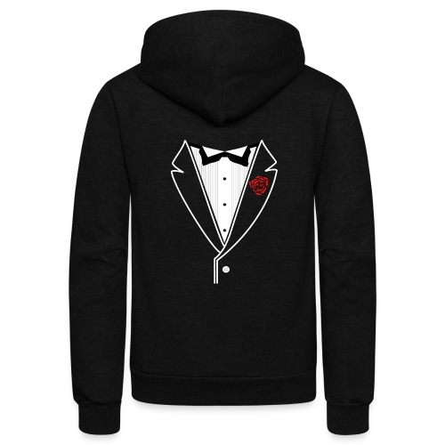 TUXEDO with Red Rose - Unisex Fleece Zip Hoodie