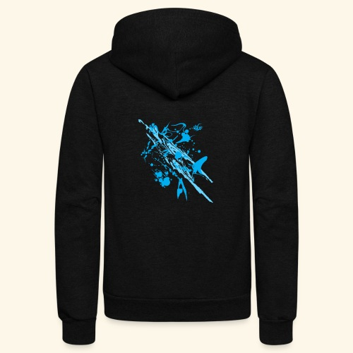 Blue Splash - Unisex Fleece Zip Hoodie
