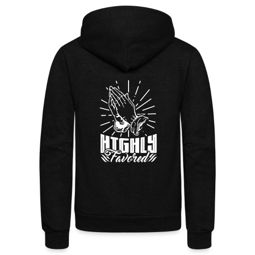 Highly Favored - Alt. Design (White Letters) - Unisex Fleece Zip Hoodie