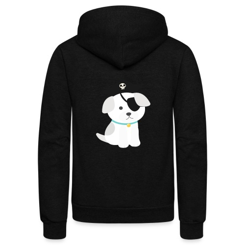 Dog with a pirate eye patch doing Vision Therapy! - Unisex Fleece Zip Hoodie