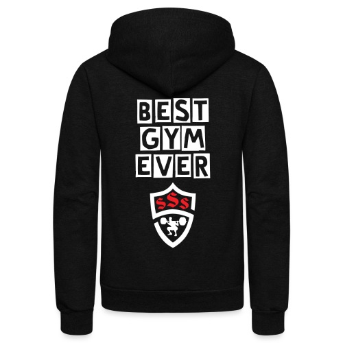 Best Gym Ever White and Red - Unisex Fleece Zip Hoodie